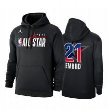 All-Star 2021 Joel Embiid & 21 Conférence Office de la Conférence Office du logo Noir Sweat à capuche Noir