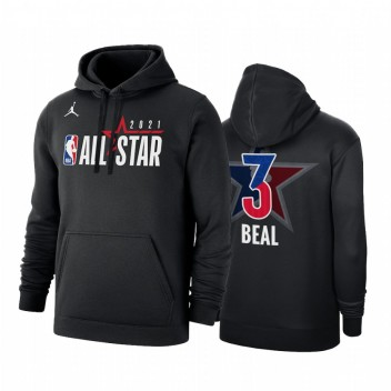 All-Star 2021 Bradley Beal # 3 Conférence orientale Logo Officiel Sweat à capuche Noir Pull