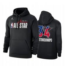 All-Star 2021 Giannis Antetokounmpo & 34 Conférence de l'Est officiel officiel du logo Noir Sweat à capuche Pull