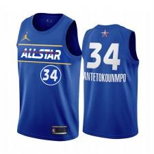 All-Star 2021 Giannis Antetokounmpo Maillot Bleu Conférence de l'Est Bucks Uniforme