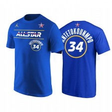 All-Star 2021 & 34 Giannis Antetokounmpo Nom du démarreur Numéro Royal T-shirt