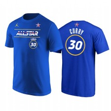 All-Star 2021 & 30 Stephen Curry Starter Nom Numéro T-shirt Royal T-shirt