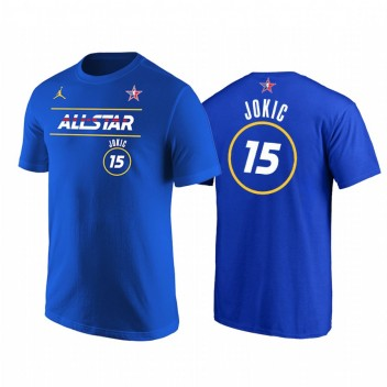 All-Star 2021 # 15 Nikola Jokic Démarreur Numéro T-shirt Royal T-shirt