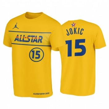All-Star 2021 # 15 Nikola Jokic Western Conference Western T-shirt Gold T-shirt