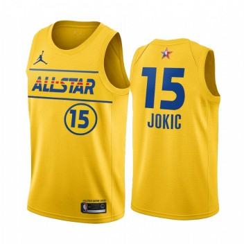 All-Star 2021 # 15 Nikola Jokic Gold Western Conference Maillot Nuggets