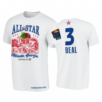 All-Star 2021 Bradley Beal Support Noir Collèges HBCU Spirit Blanc T-shirt # 3