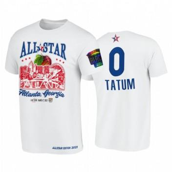 All-Star 2021 Jayson Tatum Support Noir Collèges HBCU Spirit Blanc T-shirt # 0