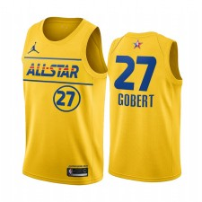 All-Star 2021 & 27 Rudy Gobert Gold Gold Western Conference Maillot Jazz