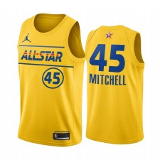 All-Star 2021 & 45 Donovan Mitchell Gold Western Conference Maillot Jazz