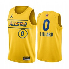 All-Star 2021 & 0 Damian Lillard Gold Western Conference Maillot Blazers