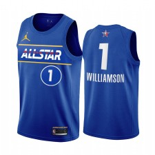 All-Star 2021 Zion Williamson Maillot Bleu Western Conference Pélicans Uniforme