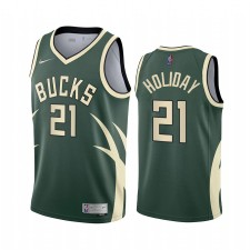 Milwaukee Bucks Jrue Holiday Attention Édition Green & 21 Maillot