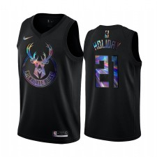 Milwaukee Bucks Jrue Holiday & 21 Maillot Iridescent Holographic Noir Édition limitée