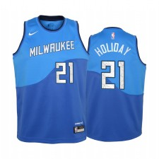 Milwaukee Bucks Jrue Holiday Ville Edition Bleu Enfants Maillot - Nouvel uniforme