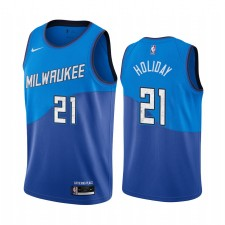 Jrue Holiday Milwaukee Bucks Bleu City Edition Maillot Nouveau Uniforme