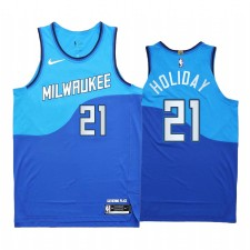 Jrue Holiday Milwaukee Bucks Bleu Authentique City Edition Maillot Nouveau Uniforme