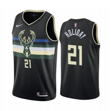 Jrue Holiday Milwaukee Bucks Noir Déclaration Édition Maillot 2020 Commerce