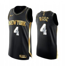 New York Knicks Derrick Rose Noir Edition Golden Authentique Limited Maillot
