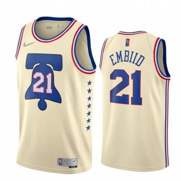 Philadelphia 76ers 2020-21 Joel Embiid gagné édition crème Maillot