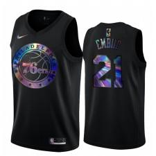 Philadelphia 76ers Joel Embiid Maillot irisé holographique Noir limité édition
