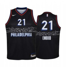 Joel Embiid Philadelphia 76ers Edition City Enfants Maillot - Noir