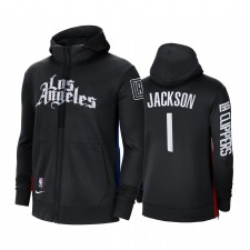 La Clippers Reggie Jackson Noir Sweat à capuche à capuche à capuche en plein air Showtime