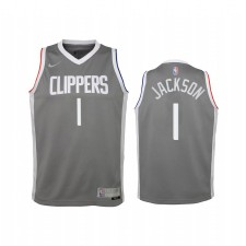 La Clippers Reggie Jackson 2021 Édition gagnée Grey Enfants Maillot Swingman & 1