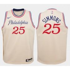 Enfant Philadelphia 76ers Ben Simmons City édition Swingman Maillot - Crème Blanc