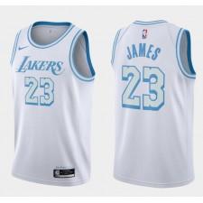 LeBron James Los Angeles Lakers 2020-21 ville édition Nouveau Bleu argent Logo Maillot Blanc