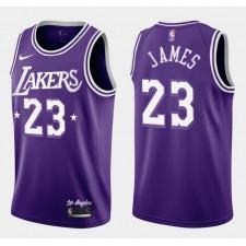 LeBron James Los Angeles Lakers pourpre 2021-22 Ville édition Maillot Retour 60s
