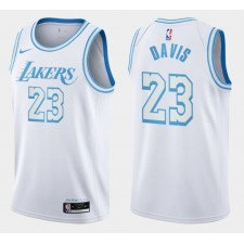 Anthony Davis Los Angeles Lakers 2021-22 Ville Commerce Numbers Maillot Blanc