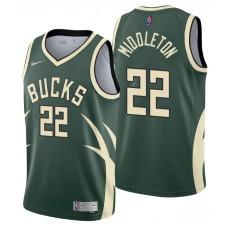 Milwaukee Bucks NO. 22 Khris Middleton a gagné l'édition Hunter Vert Maillot