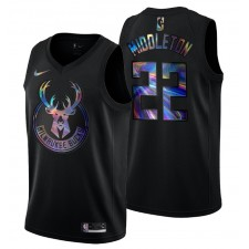Milwaukee Bucks Khris Middleton &22 Iridescent Holographique Maillot Noir