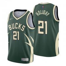 Milwaukee Bucks no. 21 Jrue Holiday Gagné Edition Hunter Green Maillot