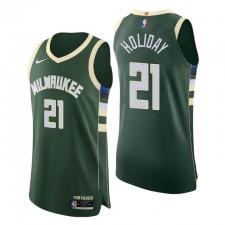 Milwaukee Bucks Icon Edition authentique Maillot 21 Jrue Holiday Hunter Green