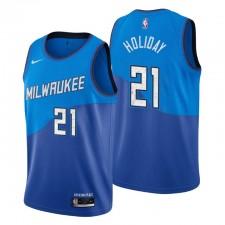 Milwaukee Bucks Swingman Maillot Jrue No. 21 Edition City Bleu