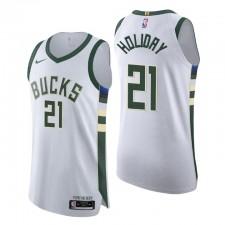 Milwaukee Bucks Maillot No.21 Jrue Holiday Association Edition Blanc