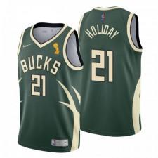 Milwaukee Bucks Champions Jrue Holiday Gagné Edition Hunter Green Maillot