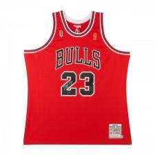 MICHAEL JORDAN DÉDICACÉ 1996-97 BULLS ROUGE NBA FINALES PATCH MITCHELL & NESS Maillot
