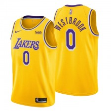Los Angeles Lakers icon Edition & 00 Russell Westbrook Gold Maillot Swingman