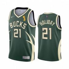 Milwaukee Bucks Champion Jrue Holiday Attention Édition Green Maillot