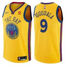 Men's 2017-18 Golden State Warriors & 9 André Iguodala City Edition Gold Swingman Maillot
