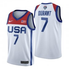 USA Team 2021 olympiques de Tokyo Basketball & 7 Kevin Durant Blanc Maillot