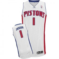 NBA Reggie Jackson Authentic Men's White Jersey - Adidas Detroit Pistons &1 Home