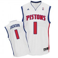 NBA Reggie Jackson Swingman Men's White Jersey - Adidas Detroit Pistons &1 Home