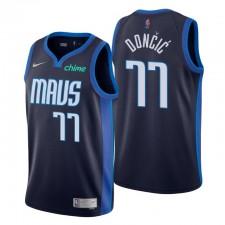 Dallas Mavericks no. 77 Luka Doncic Edition gagnée Navy Maillot