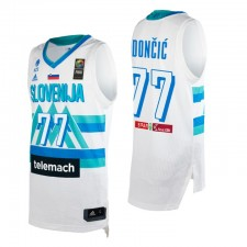 Slovénie Basketball 2021 Jeux olympiques de Tokyo First Barth & 77 Luka Doncic Blanc Maillot