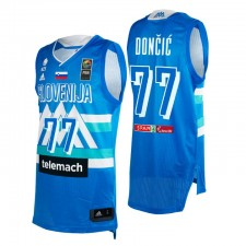 Slovénie Basketball 2021 Jeux olympiques Tokyo First Barth & 77 Luka Doncic Bleu Maillot