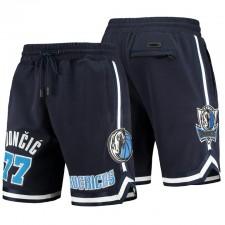 Dallas Mavericks No. 77 Luka Doncic Team Player Short de la marine