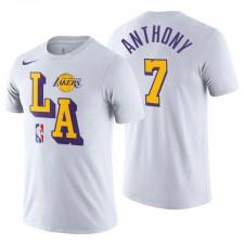 Los Angeles Lakers & 7 Carmelo Anthony Courtside Blanc T-shirt Blanc Blanc